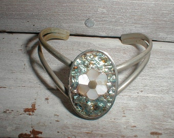 Small Mexican Silver Cuff Bracelet With Abalone Mother Of Pearl Flower *Unique Slanted Design*