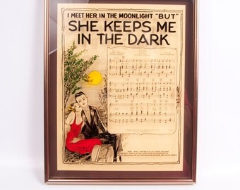 Vintage Acid Etched Mirror by Lucid Lines Art Glass Wall Hanging Gold Metal Frame I Meet Her In The Moonlight But She Keeps Me In The Dark
