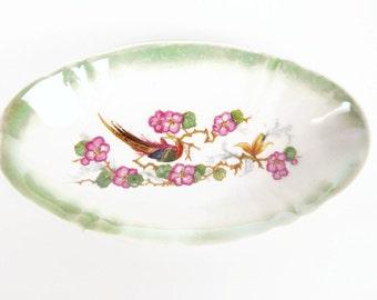 Vintage German Bowl Pheasant Design Pink Floral Hand Painted Celery Dish Candy Dish Trinket Holder Embossed Design