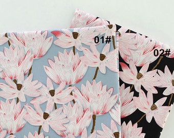 Lotus Fabric Flower Fabric,Fresh Chic Flower Fabric, Plain Stretch Fabric, Vintage Style, Blue, Black Floral Cotton Fabric 1/2 Yard(QT815)