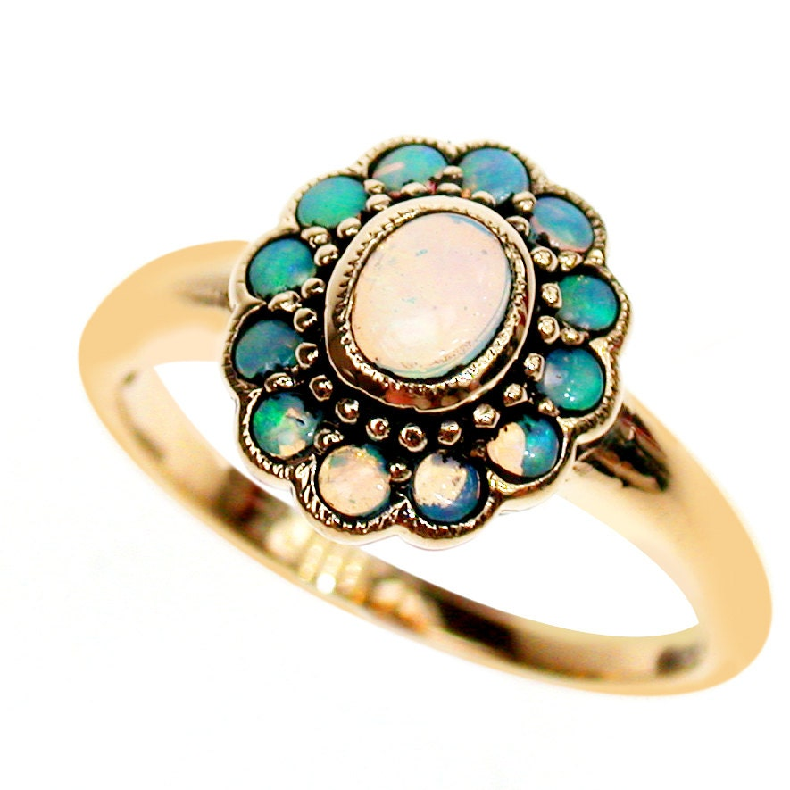 gold opal ring 9ct 9k 14k 18k antique womens opal ring