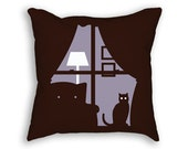 Cat Pillow - Cat Throw Pillow - Purple Pillow - Cat Cushion - Decorative Pillow - Cat Decor - Black Cat - Cat Lover Gift - Animal Pillow