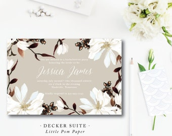 Southern Magnolia Party Invitations