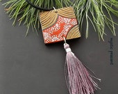 Moroccan Style Wood Tassel Ornament - Ebony Gold Poppy Mauve Tassel Decoration - Bohemian Decor - Hand Painted Ornament