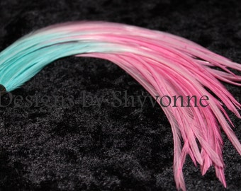 Turquoise Pink Fade Ombre Feather Earrings