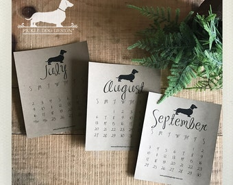 75% OFF! Brown Kraft Year of the Doxie. 2017 Desktop Calendar -- (Vintage-Style, Dachshund, Weiner Dog, Monthly Calendar, Rustic, Simple)