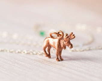 Moose Necklace, emerald necklace, animal jewelry, moose jewelry, sterling silver, copper necklace, May birthstone