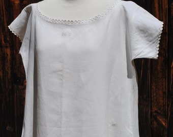 Antique French turn of the century pure natural linen handmade long nightdress chemise with A G monogram -  never worn ! #1