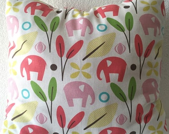 Elephant Print Home Decor Fabric, Pink Green Yellow Pillow Cover, Accent Pillow, Single Pillow Cover 18x18 inch-Free US Shipping