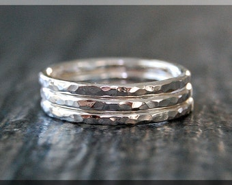 Set of 3 Sterling Silver hammered stacking rings, Simple Stacking Ring, Stackable Sterling Silver Ring, Stack of 3 Silver rings