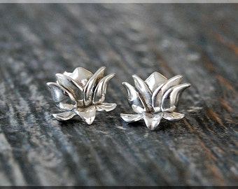 Lotus Earrings. Sterling Silver Lotus Post Earrings, Botanical Earrings, Handmade sterling silver post earrings, Lotus Flower earrings