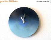 CIJ Sale, Decorative Wall Clock,  Blue Ombre, Etsy Art,  Decor and Housewares, Home and Living, Home Decor, Record Clock, Unique Wall Cloc