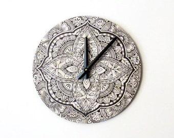 Mandala Wall Clock,  Bohemian Decor, Home and Living,  Black and White Decor, Living Room Clock, Home Decor, Decor and Housewares