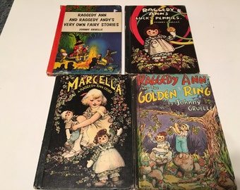 5 raggedy ann hardcover books 1960s