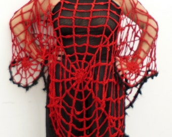 Halloween Costume Women Plus Size Lydia Deetz Look Red Poncho Spider Web Poncho Beetlejuice Costume Cosplay Women's Clothing Maternity