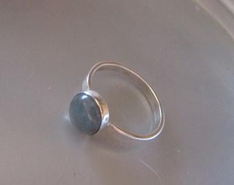 Blue Topaz cabochon ring - Handmade ring - Size 6 1/2