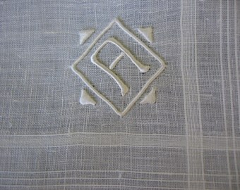 Handkerchief A Initial Madeira Monogram Men's Hankie Hand Embroidered on Pure White Linen for the Groom Vintage Unused with Madeira label