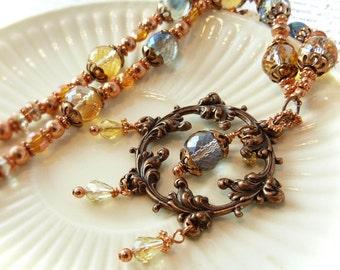 Victorian Estate vintage inspired necklace - stamped art n