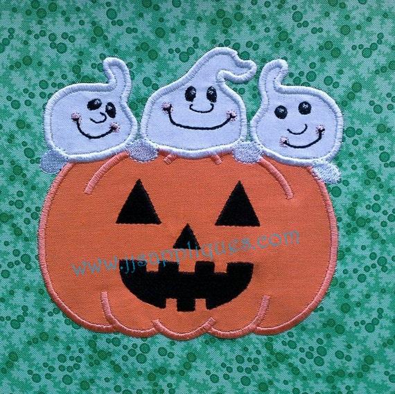 Instant Download - Halloween Designs Ghost Designs Pumpkin Designs Embroidery Applique-Ghosts Peek Over Jack-O-Lantern 4x4, 5x7, 6x10 hoops