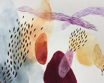 Abstract forms watercolor, organic, biological, cellular, nature watercolor