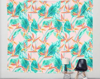 Wall tapestry, tropical palm leaves, birds of paradise, tropical pattern tapestry, wall art, colorful watercolor tropical floral decor