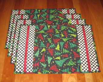 Quilted Placemats, Christmas Trees on Black, Set of 4