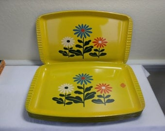 Lot 8 1960's Mod Daisy Plastic Lacquer Serving Trays Giftwood Japan
