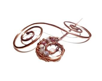 Copper Spiral Hair Accessory Bobby Pin Hair Accessory Lepidolite Hair Pin Copper and Lepidolite Hair Accessory