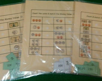 Money Value / Money Counting - Velcro Match, Coins, Dollars, Counting Money, Educational Toys, Montessori, First Grade, Kids Learning, Math
