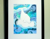 Beluga Whale art, pen and ink drawing, wildlife, Colorful framed original art,water with white Beluga Whale, fantasy art