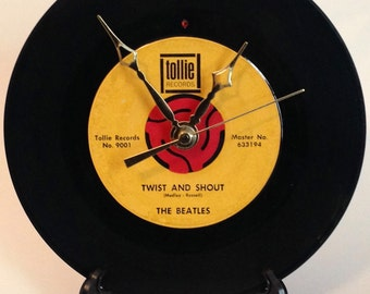 "Recycled BEATLES 7"" Record / Twist And Shout / Record Clock"