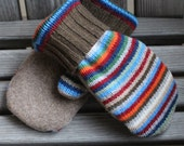 Child 6 to 10yrs Wool Mittens, Sweater Mittens, Upcycled Wool Sweater Mittens, Fleece Lined. Inspiring Dreams