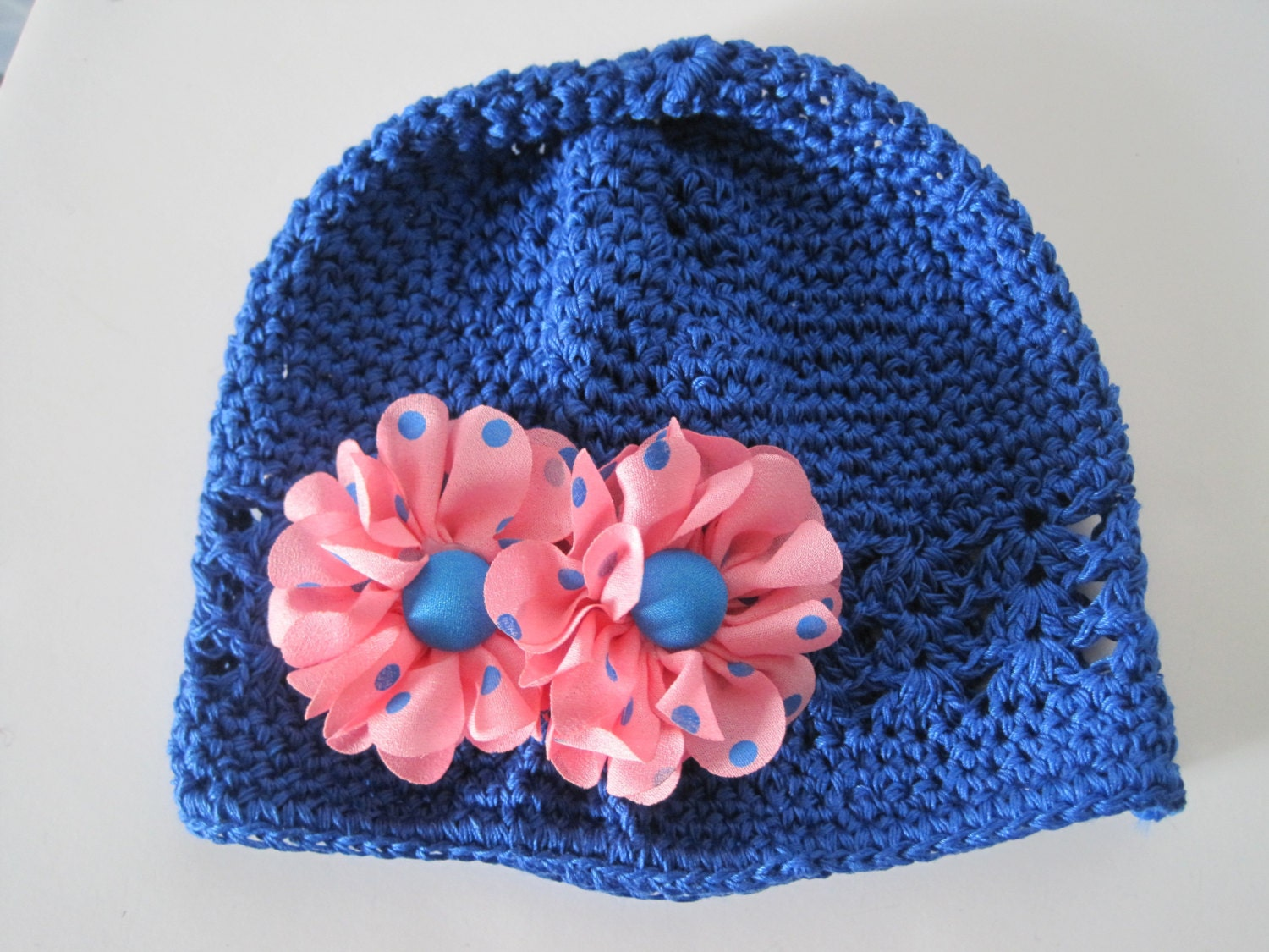 Kufi Beanie Hat Crochet Pattern : Baby Hat Royal Blue Crochet Kufi Beanie with Adorable Pink
