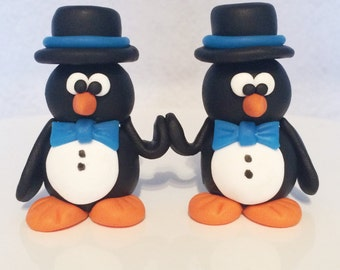 His & His Polymer Clay Penguin Wedding Cake Topper