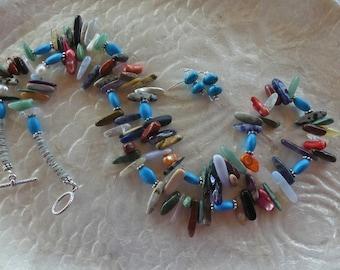 29 Inch Southwestern Multi-Gemstone Stick Bead Necklace with Earrings