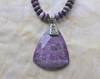 20 Inch PUrple Jasper Pendant Necklace with Earrings