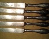 Arts and Crafts 1904 Shreve & Co. Sterling Set of Five Antique Design S Monogram Knives
