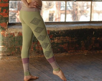 eco friendly CUSTOM organic yoga hippie patchwork leggings geometric block print handmade