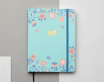 Flower and Cat Gold Foil Personalized Notebook/Sketchbook