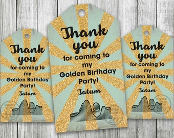 Golden Birthday, Roller Coaster Party Favor Tag, Glitter Gift Tag, Gold Printable Tag, Theme Park Party Tag, Gold Tag