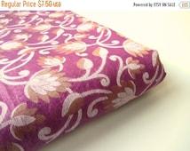 ON SALE Purple flowers white gold branches Varanasi cotton silk fabric nr 388