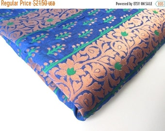 ON SALE cobalt blue copper green flowers and branches India silk brocade fabric nr 154 fat quarter