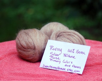 3 Bumps 100% Llama Roving - Silver Fortune, Primary Colors, Heartsong Rose