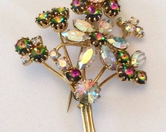 CHRISTMAS Holiday Sale, Rhinestone Flower Brooch Aurora Borealis Retro Vintage Jewelry REPAIR