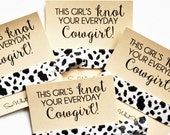 Knot Your Everyday Cowgirl Hair Tie Favors | Cow Hair Ties | Birthday Party Favors | Western Bachelorette Party Favors | Cow Day Chick-Fil-A