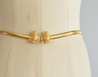 Vintage 70s Gold Stretch Belt / 1970s Mimi Di N Skinny Gold Snake Chain Metallic Belt with Owls