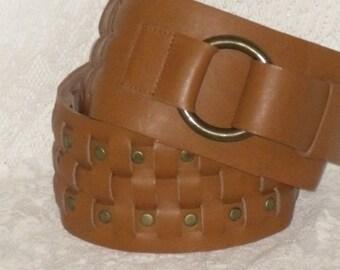 Brown Wide Leather Belt Brass Tone Studs Size S Avignon Vintage
