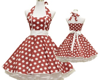 50's vintage dress full skirt red white polka dots Sweetheart Tailor Made after your measurements