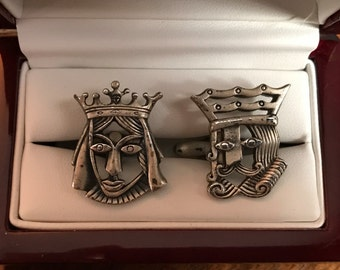 Vintage Swank Designer Collection Pewter King & Queen Cufflinks