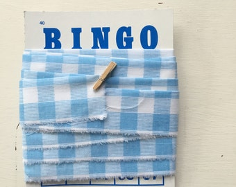 Handmade Vintage Continuous Quilt Binding Blue Checks  (4 Yards)